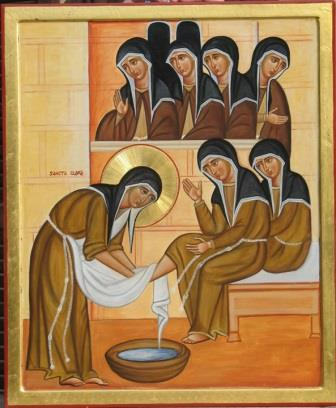 Clare washing the feet of the nuns