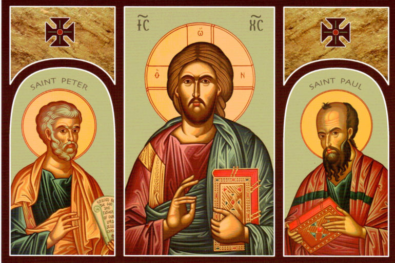 Icon of Jesus and Saints Peter and Paul 770x514